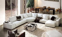 Wooden sofa,Living room furniture U-shaped combination of corner leather.