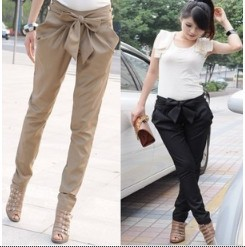 2013 Fashion high women's Skinny Long Trousers OL casual Bow harem pants 2colour Black, Khaki Free shipping FL71(China (Mainland))