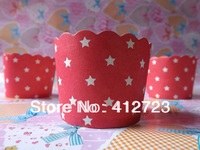 (red with white stars)Cupcake wrappers,Cake cup , wedding favors,wedding gift, free shipping