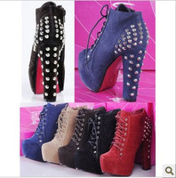 2013 spring and autumn Fashion boots New hollow rivet high heel shoes, nightclub Martin boots