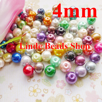 1100pcs/lot multi mixed clour 4mm glass pearl beads christmas ornament loose round beads for jewelry, decoration, GP04000