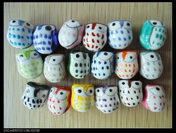 200pcs/lot Animal Owl Charm Ceramic Porcelain Bead mixed colour xc-171(China (Mainland))