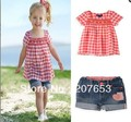 free shipping 5sets /lot  children clothing 2pcs set baby girl top/T-shit+jeans shorts  with emboridery cherry