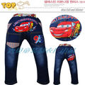 Free shipping 5pcs/lot children's cartoon cars denim jeans pants boys fashion casual jeans trousers for kids