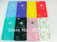 1000pcs/lot Net Mesh Sculpture Design Rose Flower Hard Plastic Case For iPhone 5