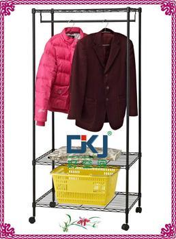 New Style 3 Tier Steel Powder Coating Wardrobe Rack Easy Assemble HKJ-B025