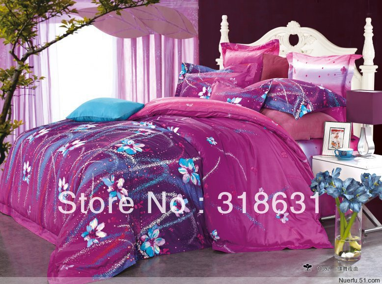 Hot for Sale ! 4pcs Queen Full Unique Bedding for Adults, 100% Cotton Duvet Cover Set, Bed Sheet + Pillow Shams, Violet Red(China (Mainland))