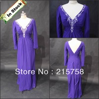 Cheap applique chiffon purple long sleeve Evening Dress Gown In Stock 2012