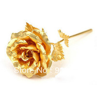 Free shipping retail Great Valentine's day /Birthday gifts, middle size,19cm length,24k open Gold foil Rose, 1pc/lot