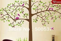 2 pcs/set Free Shipping Removable Wall Stickers,Tree & Birds Home Decoration,Giant Wall Decals 60*90cm,JM7129 AB,100pcs mixed