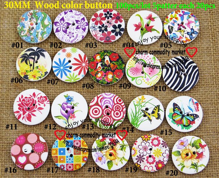 30 MM botão de madeira pintura botões de cor de madeira para botão casaco personalizado MCB-606M(China (Mainland))
