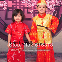 2012 Children's Costume Chinese Style Clothing Set (Girl's Small Cheongsam + Boy's Qing Dynasty Prince Clothing)