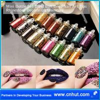 100 set Free Shipping by Fedex! ! 18 Mini Bottle Set Steel Ball Bead Nail Art Tips Rhinestone Decoration Manicure