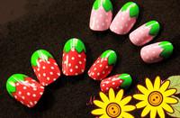 FREE SHIPPING , super ice-cream strawberry design long finger  false nail/nail tips  ,high quailty USA export 24pcs/set 2g glue