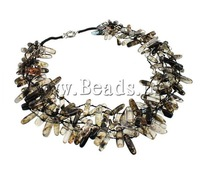 Free Shipping  Natural Smoky Quartz Chips Necklace  with brass spring ring clasp  Elegant Gift