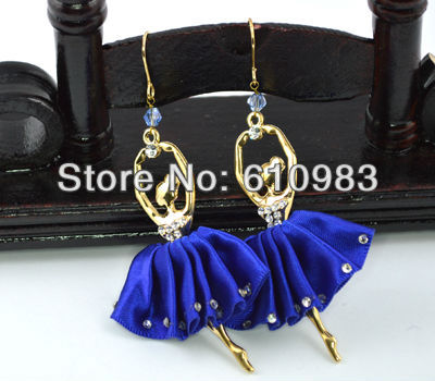 Free shipping 1pair fashion 18 gold covered Charm Ballet Girl with purple ballet skirt ornamented with faux jewels earring(China (Mainland))
