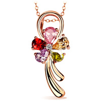 Flower female fashion rose gold seven multicolour zircon short design necklace girlfriend gifts birthday gift