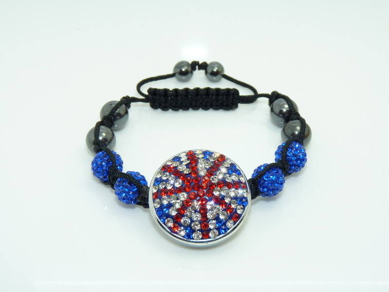 Hot Sale SH37 Shamballa Bracelet UK Flag Union Jack 2012 London Olympic Gifts 12mm Disco Ball Beads New Arrival Free Shipping(China (Mainland))