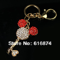 Free Shipping wholesale lovely mickey key keychains, glass crystal stone key rings in gold tone free jewelry gift-50pc/ lot-7006