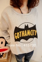 Free Shipping 2013 Women Batman Comforter Full Hoodie Fashion Fleece Casual High Quality Loose Pullover With Pocket Sweatshirt