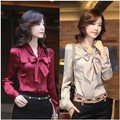 2012 NEW Korea Women's Ladies bowtie OL shirt Long Sleeve Vintage Shirts Tops blouse 3 Colours New free shipping