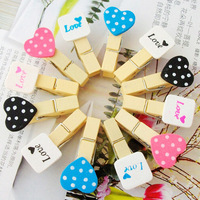 Cartoon wooden clips photo paper clip mark & love heart for clothes 120pcs/lot