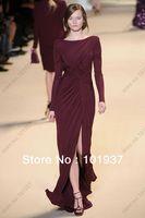 Free Shipping Real Sample Modest Floor Length Ruffle Split Chiffon Elie Saab Formal Dress Women Long Sleeves Evening Dress