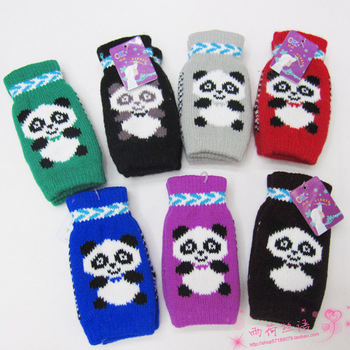 Winter thermal semi-finger gloves lovers gloves cartoon panda typing gloves yarn gloves