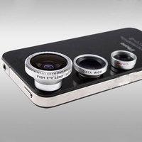 Best Selling!!Wide Lens + Macro Lens + 180 Fish Eye Lens For iPhone 5 Mobile Digital Camera