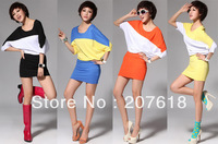 Summer New Women Stretch Pure Cotton Dolman Sleeve Dress Plus Size Lady Elegance Mini Dress Size: M L XL
