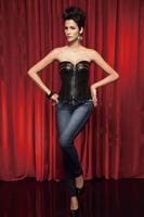 New Women intimates leather Corset  Sexy Lingerie (bustier+underwear)  black 3338