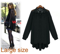 plus size blouse women fashion designed black long-sleeve lace chiffon blouse mother's tops XL,XXL,XXXL free shipping