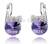 Purple earrings crystal studs free shipping