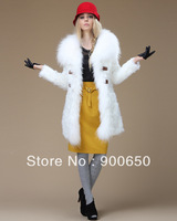True Fleece Fur AND Real Fox Fur Top Fashion Luxurious Women's Long Wind Coat Jacket In Slim Fit