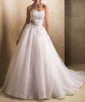 2013 New Style A Line Flower Hand Made Train White Wedding Dresses KO02015