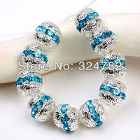 Wholesale 100pcs 8mm/10mm sky blue Rhinestone Crystal silver plated loose beads/ spacer beads European jewelry findings