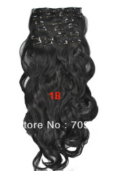 cheap synthetic clip in wavy hair extensions 10pcs 170g 1set 22 24 inch #1B Off Black(China (Mainland))