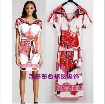Free shipping 2013 pink series positioning printing system belt short sleeve ice silk slip material elastic dress