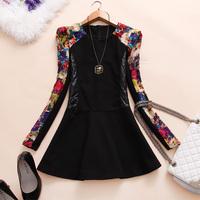 2014 New Fashion Autumn Winter women's patchwork round neck slim dress woolen splice one-piece print knee-length dress free ship