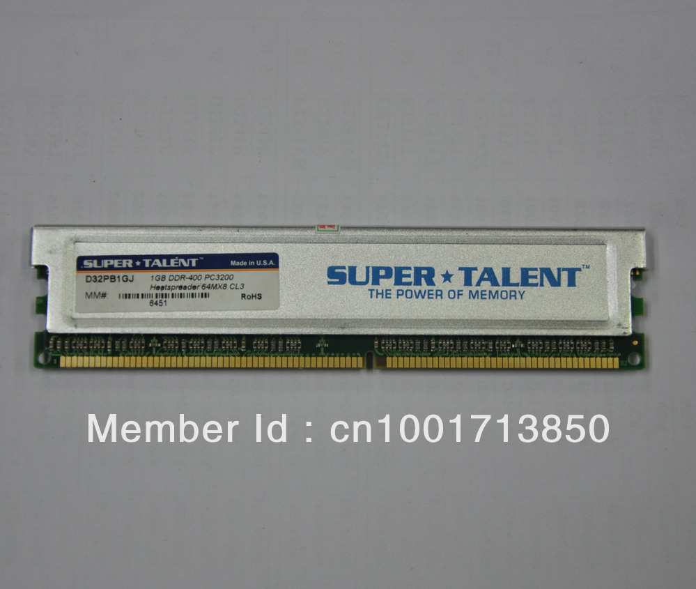Free Shipping Memory 1G DDR400 PC3200 Super TALENT with Heatsink(China (Mainland))