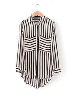 free shipping 2013 fashion lady Round neck wave point long/sleeved chiffon shirt dot fashion shirt Pocket decoration top ft075