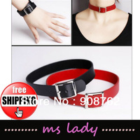 Free Shipping Wholesale Punk Black/Red Necklace Fashion Necklaces Torques 2pcs/lot HK Airmail