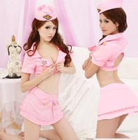 Sexy stewardess loading the ktv work wear nightclub dress cosplay cloth sauna suit clothing pink color night dress