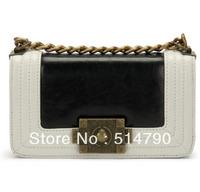 Cute Fashion Genuine Leather Vintage Metal Chain Bag Sling Bag  Lady's Shoulder Bag Small Retro Bag+5Colors