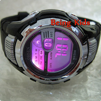 OHSEN  Silver Case AL 7 color BackLight  Black  Color Fasion Men Boy Smart Sport Digital Soft Rubber Strap Wrist Watch New