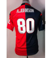 2013 new style america Football Jerseys #80 A.Johnson red and blue Elite men's Jerseys ,Embroidery logos size:40-56