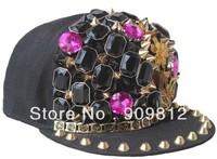 Free Shipping 2013 New Punk Style, Butterfly flat brimmed hat, Rivets hip-hop cap, Bboy hats, Snapback caps 10pcs/lot