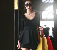 2013 dresses women dress long sleeve mini dress Elegnat Lace Black cotton blends Free Size