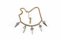 Fashion crystal spike necklace, gold and silver color