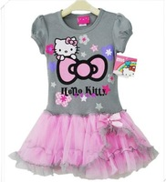 SQZ-212,5 pcs/lot free shipping 2013 hot selling children summer dresses cartoon girl lace dress baby garment wholesale